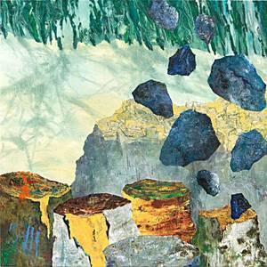 Steine und Stämme, Öl/Lwd., 2013, 100x100 cm