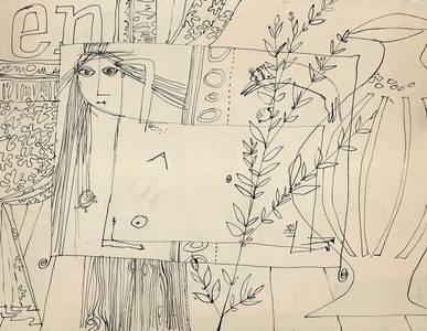O.T., Sie zeichnen das Chaos und nennen es Menschenbild, Tusche, 1950