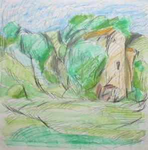 Südfranzösische Impression, Bleistift/Wachskreide, um 1985