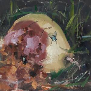 Fruchtfäule, Öl/Hartfaser, 2015, 20x20 cm