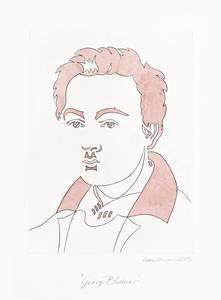Manfred Haussmann, Porträt Georg Büchner, Kupferstich, koloriert