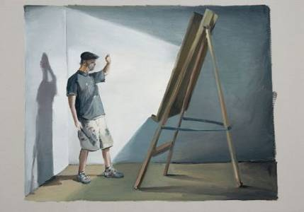 Jochen Pankrath, O.T. (Die Erleuchtung: Der Maler vor der Staffelei), Öl/Malpappe, 2016