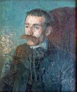 Ludwig Meidner, Männliches Bildnis, Öl/Lwd., 1907, 55x46 cm