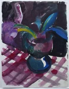 Müller-Linow, Vase auf karierter Decke, Aquarell, 1985, 36x27 cm