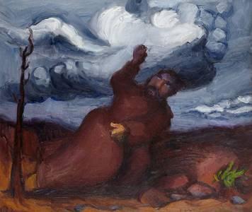 Ludwig Meidner, Prophet in der Landschaft, Öl/Holz, 1933, 59x70 cm
