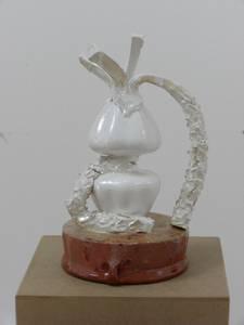 Blumenvase, perlmutt, weißer Ton glasiert, 2014t, 2014