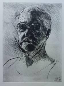 Müller-Linow, Selbstporträt, Kaltnadelradierung, 1979