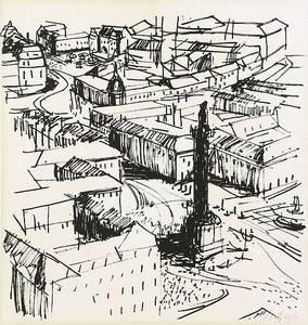 Luisenplatz Darmstadt, Lithografie, um 1960