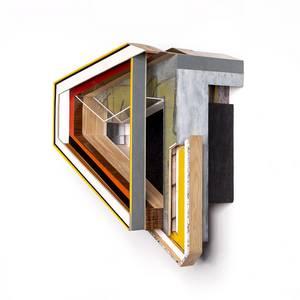 Invert_w, Objekt, Holz, Farbe, Klebefolie, Print, 2013, 46x40x30 cm