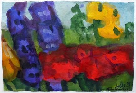 Rittersporn/Mohn/Rudbeckia, Aquarell/Gouache, 2008, 38x55,5 cm