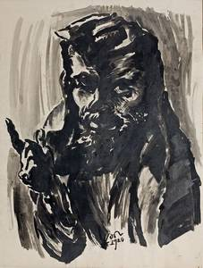 Ludwig Meidner Selbstporträt im Gebetsmantel, Tusche, 1920, 77x51 cm