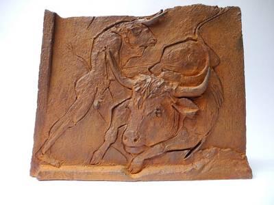 Antike Erzählungen (Minotaurus und Stier), Eisen, 2019