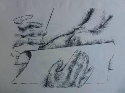 Grzimek, Zeichnen, Lithographie, 1975