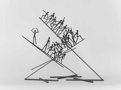 Aufsteigende Figuren, Stahl/Farbe, 2014, B 36/34 cm