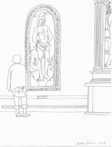 Matthias Beckmann, Besucher vor Bildern (Gemäldegalerie Berlin), Bleistift, 2017