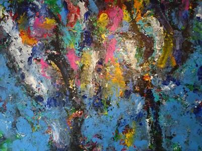 Jörg v. Kitta-Kittel, Farbbäume, Acryl/Lwd., 2008, 125x180 cm