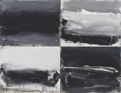 Werner Schmidt, Black Power, Mischtechnik/mdf/Eiche, vierteilig, 200x260 cm