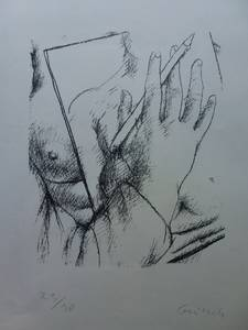 Grzimek, Beim Zeichnen, Lithographie, um 1975