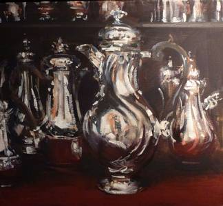 Silberkannen, Öl/Lwd., 2013, 45x50 cm