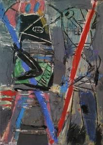 M. Fahl, Stabträger, Öl/Assemblage/Lwd., 2018, 70x50 cm