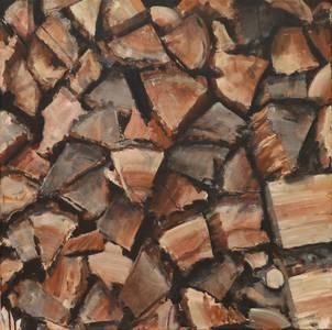Holz III, Öl/Lwd., 2013, 80x80 cm
