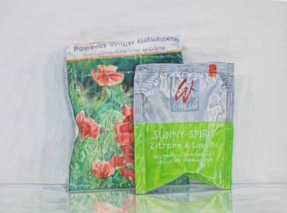 Sabine Christmann, Mohn und Sunny Spirit, Öl/Holz, 2014lz, 2014, 15x20 cm