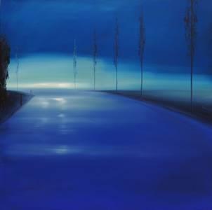 Landstraße blau, 2013, 100x100 cm