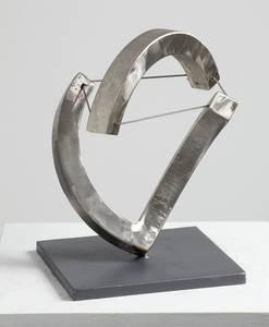 Kreisteilung, Bogen schwebend, Edelstahl, 2008, H 21 cm