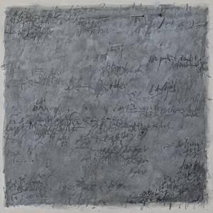 Peter Thoms, O.T., (Graue Schrift) Mischtechnik/Lwd., 100x100 cm 2016, Foto: Ute Döring