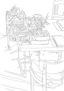 """Matthias Beckmann, Atelier Nanne Meyer, aus der Zeichenserie """"Berliner Ateliers"""", Bleistift, 2011, 29,7x21 cm"""
