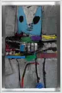 M. Fahl, Figur in Grau II, Materialbild, 2016, 60x35x10 cm