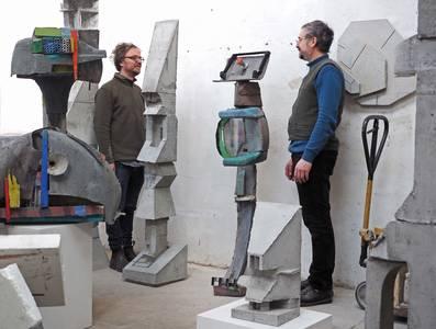 Menno Fahl und Friedemann Grieshaber im Atelier