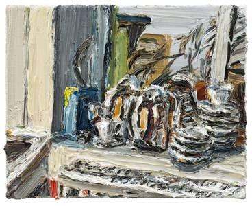 Stillleben am Abend, Öl/Lwd., 2017, 40x50 cm