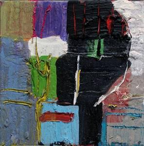 M. Fahl, Farbiger Kopf, Öl/Lwd., 2017, 30x30 cm