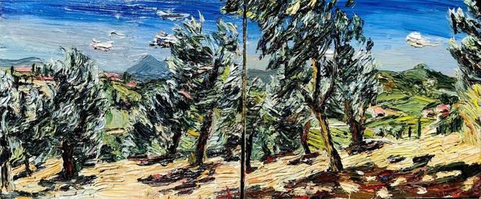 Olivenhain-Panorama, Öl/Lwd., 2018, (Diptychon) 100x240 cm