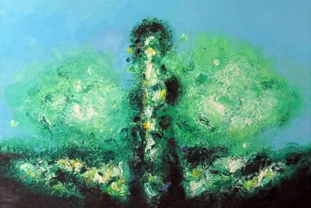 Landschaft und Figur, Öl/Lwd., 2016, 100x170 cm