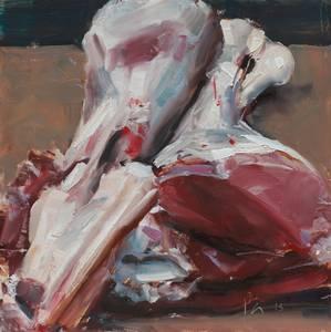 Lammkeule, Öl/Hartfaser, 2015, 25x25 cm
