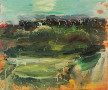 Gabi Streile, Himmel, chromoxyd (über Berlin) Öl/Lwd., 2012, 100x120 cm