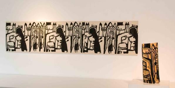 Druckstock mit drei Holzschnitten/Leinwand