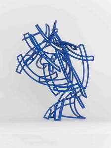 Blauer Kopf, Stahl/Farbe, 2016, H 45 cm