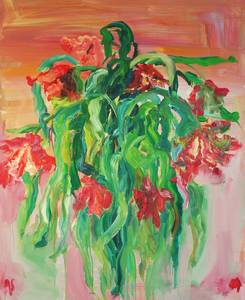 Gabi Streile, Tulpen, grosser Strauss, fliessend, Öl/Lwd., 160x130 cm