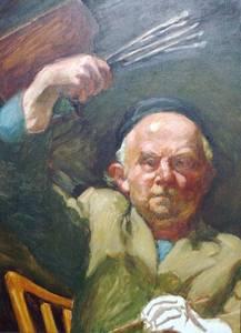 Ludwig Meidner, Selbstporträt mit Palette, Öl/Malpappe, um 1960, 80x60 cm