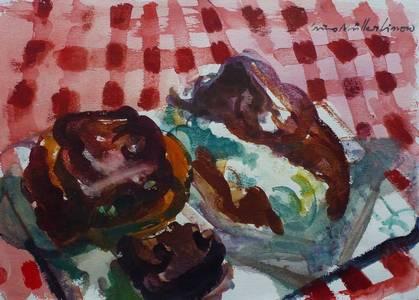 Müller-Linow, Stillleben mit Kuchen, Aquarell, o.J., 26x36 cm