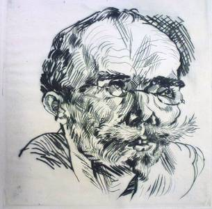Ludwig Meidner, Bildnis Schuster Petersen, Radierung