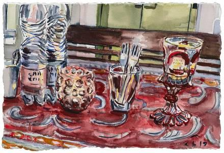Stillleben mit Gläsern und Flaschen, Aquarell, 2019, 40x60 cm
