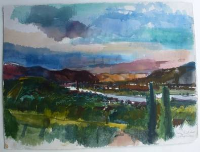 Müller-Linow, Landschaft bei Rhens, Aquarell, 1966, 57x77 cm