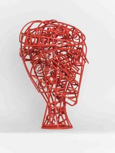 Kopf (rot), Stahl/Farbe, 2016, H 63 cm