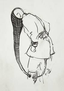 """Herbert Nauderer, aus der Werkreihe """"Rembrandt-Ballett"""", Graphit/Bleistift, 2013,, 21x15 cm"""