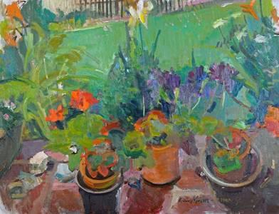 Müller-Linow, Auf der Terrasse in Hochscheid, Öl/Lwd., 1990, 70x90 cm