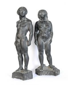 Grzimek, Uwe und Eva, Bronze, 1979, H 40 cm